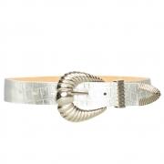 Cinto de Couro Croco Prata com fivela concha e ponteira Prata - 3,5 - cm - Cintos Exclusivos VC- Feminino