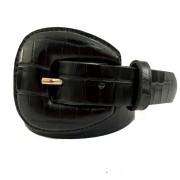 Cinto de Couro Croco Preto com fivela encapada - 2,5 - cm - Cintos Exclusivos - Feminino