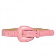 Cinto de Couro Croco Rosa Chiclete com fivela encapada - 2,5 - cm - Cintos Exclusivos - Feminino