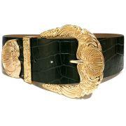 Cinto de Couro Croco Max Verde com fivela e ponteira dourada - 6,0 - cm - Cintos Exclusivos - Feminino