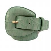 Cinto de Couro Croco Verde com fivela encapada - 2,5 - cm - Cintos Exclusivos - Feminino