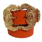 Cinto de Couro Laranja  com fivela dourada Arabesco e ponteira - 4 cm - Feminino
