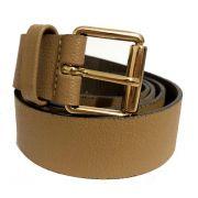 Cinto de Couro Bege com Fivela  Dourada - 3 cm - Cintos Exclusivos - Feminino