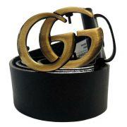 Cinto de Couro Preto Inspired com Fivela  Ouro Velho - 4 cm - Cintos Exclusivos - Feminino