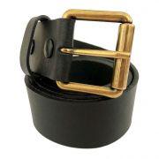 Cinto de Couro Preto com Fivela Simples Ouro Velho  - 4 cm - Cintos Exclusivos - Feminino