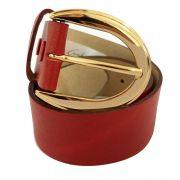 Cinto de Couro Vermelho  com Fivela  Ouro  - 4 cm - Cintos Exclusivos - Feminino