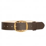 Cinto de Couro Marrom com Fivela Dourada - 4 cm - Cintos Exclusivos - Feminino
