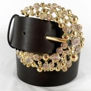 Cinto de Couro Marrom com Fivela Dourada em pedraria - 4 cm - Cintos Exclusivos - Feminino