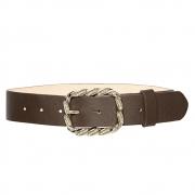 Cinto de Couro Marrom com Fivela Prata - 4 cm - Cintos Exclusivos - Feminino
