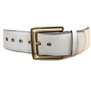 Cinto de Couro  Max Branco com fivela Dourada  - 5,5 - cm - Cintos Exclusivos - Feminino