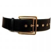 Cinto de Couro  Max Preto com fivela Dourada  - 5,5 - cm - Cintos Exclusivos - Feminino