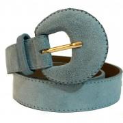 Cinto de Couro Meia Lua Azul Camurça - 3 cm -Cintos Exclusivos - Feminino