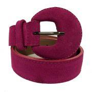 Cinto de Couro Meia Lua Rosa Camurça - 3 cm -Cintos Exclusivos - Feminino