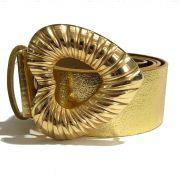 Cinto de Couro Dourado Metalizado Coração com fivela dourada - 4,0 - cm - Feminino