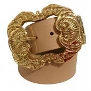 Cinto de Couro Nude  com fivela dourada Arabesco e ponteira - 4 cm - Feminino