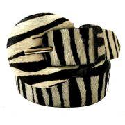Cinto de Couro  Animal Print Pelo Meia Lua Zebra  - 3 cm -Cintos Exclusivos - Feminino
