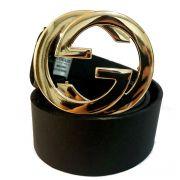Cinto de Couro Preto com fivela Dourada Inspired - 4 cm - Cintos Exclusivos - Feminino