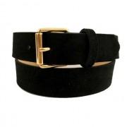 Cinto de Couro Preto Camurça com Fivela  Dourada - 3 cm - Cintos Exclusivos - Feminino
