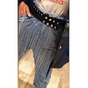 Cinto de Couro Preto com Correntes  - 6 cm - Cintos Exclusivos - Feminino