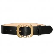 Cinto de Couro Preto com Fivela Dourada - 4 cm - Cintos Exclusivos - Feminino