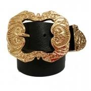 Cinto de Couro Preto  com fivela dourada Arabesco e ponteira - 4 cm - Feminino