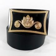 Cinto de Couro Preto com Fivela Dourada em pedraria - 4 cm - Cintos Exclusivos - Feminino
