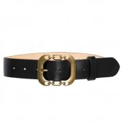 Cinto de Couro Preto com Fivela Ouro Velho - 4 cm - Cintos Exclusivos VC- Feminino