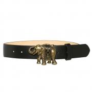 Cinto de Couro Preto com Fivela Ouro Velho Elefante  - 4 cm - Cintos Exclusivos - Feminino