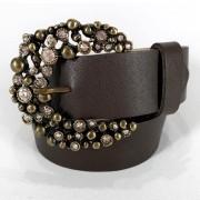 Cinto de Couro Marrom com Fivela  Ouro Velho em pedraria - 4 cm - Cintos Exclusivos - Feminino