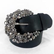 Cinto de Couro Preto com Fivela  Prata em pedraria - 4 cm - Cintos Exclusivos - Feminino