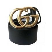 Cinto de Couro Preto Inspired com Fivela  Dourada - 4 cm - Cintos Exclusivos - Feminino