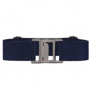 Cinto de Elástico Ajustável Azul Marinho com Regulagem e Fivela  ônix  - Cintos Exclusivos - Feminino