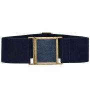 Cinto de Elástico Ajustável Azul Marinho com Regulagem e Fivela  Ouro Velho com aplicação de Couro - Cintos Exclusivos - Feminino