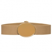 Cinto de Elástico Ajustável Bege com Regulagem e Fivela  Ouro  - Cintos Exclusivos - Feminino
