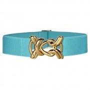 Cinto de Elástico Ajustável Azul Turquesa  com Regulagem e Fivela Nó Dourada - Cintos Exclusivos - Feminino
