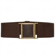 Cinto de Elástico Ajustável com Regulagem e Fivela  Ouro Velho com aplicação de Couro - Cintos Exclusivos - Feminino