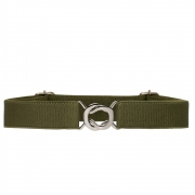 Cinto de Elástico Ajustável Verde  com Regulagem e Fivela  Prata - Cintos Exclusivos - Feminino