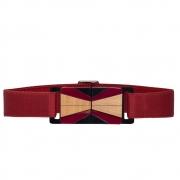 Cinto de Elástico Ajustável Vermelho Sangue com Regulagem e Fivela de Acrílico com madeira  Étnico - Cintos Exclusivos - Feminino