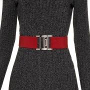 Cinto de Elástico Vermelho Ajustável com Regulagem e Fivela Ônix  - Cintos Exclusivos - Feminino