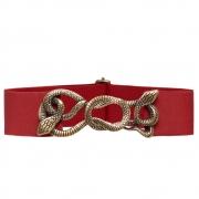 Cinto de  Elástico Vermelho  Animal Print Cobra - Cintos Exclusivos - Feminino