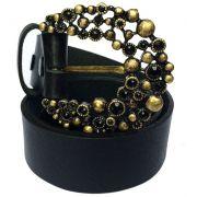 Cinto de Couro Preto com Fivela  Ouro Velho  - 4 cm - Cintos Exclusivos - Feminino