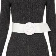 Cinto Faixa Largo de Couro Branco Encapada - 7 cm -Cintos Exclusivos VC - Feminino