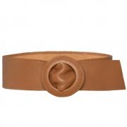 Cinto Faixa de Couro Caramelo Encapada - 7 cm -Cintos Exclusivos - Feminino