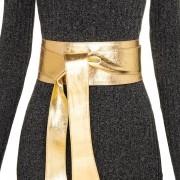 Cinto Faixa de Couro Dourado  -  9 cm - Cintos Exclusivos - Feminino