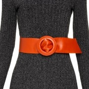 Cinto Faixa de Couro Laranja - 7 cm -Cintos Exclusivos - Feminino