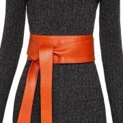 Cinto Faixa Largo de Couro  Laranja  -  9 cm - Cintos Exclusivos - Feminino