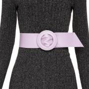 Cinto Faixa de Couro Lilás  - 7 cm -Cintos Exclusivos - Feminino