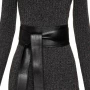 Cinto Faixa de Couro Preto  -  9 cm - Cintos Exclusivos - Feminino