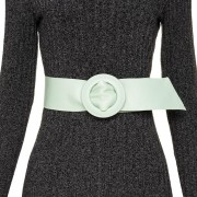 Cinto Faixa Largo de Couro Verde Encapada - 7 cm -Cintos Exclusivos - Feminino