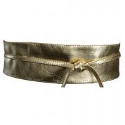 Cinto Faixa Obi de Couro na Cor Dourada - 7cm - Cintos Exclusivos - Feminino